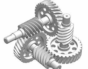 Curiously worm gear mechanism 3D model