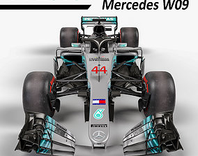 F1 Mercedes W09 2018 3D model low-poly