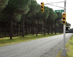 Traffic light 3D asset low-poly
