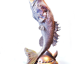 3D printable model fishing Fish Statue