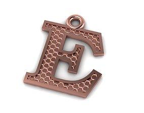 3D printable model font Alphabets Letter E Pendant