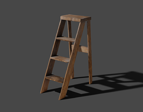 3D Old dusty wooden steps