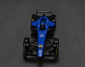 3D model low-poly Formula e Renault e dams