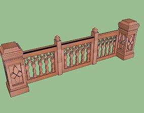 rigged indian jodhpuri stone railing with balester 3d