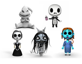 A set of five horror character toys 3D