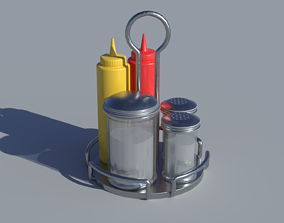 1950s Diner Seasoning Dispensers 3D asset
