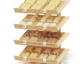 container Market Shelf 3D Model - Bakery Products
