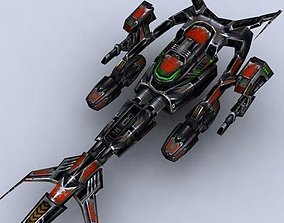 Sci-Fi Space Fighters Fleet 3D asset