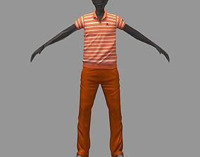 avatar casual set orange line polo pants sneakers 3D model