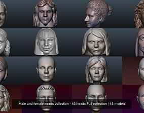 3D model Male and female heads collection - 43 heads Full