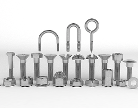 Hardware Pack- nuts and bolts thread 3D