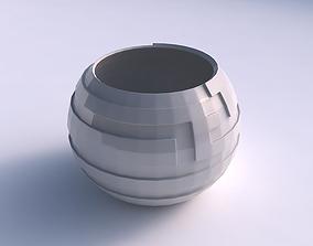 Bowl spheric with sharp ribbons 3D print model