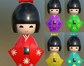 3D asset Kokeshi Japanese doll