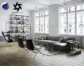 3D Living Room Interior Scene for Cinema 4D and Octane