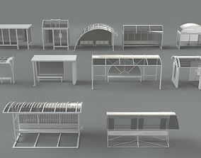 Bus stations - 11 pieces 3D