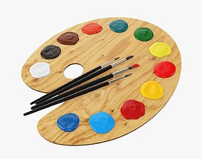 3D Art palette with brushes and paints