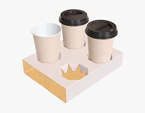 Coffee cups paper with cardboard holder 3D model