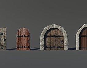 3D model 4 Medieval Doors Set