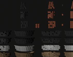 Roman roof tiles and cornices 87 pieces set low 3D model 1