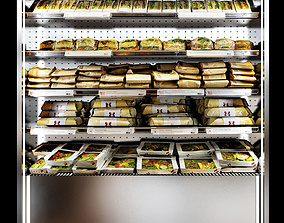 3D model Shelves sandwiches and packed lunches