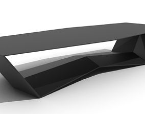 Sleek Ridged Base Coffee Table 3D model