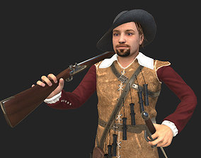 animated musketeer game model
