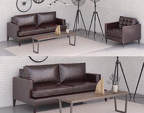 3D Black sofa set
