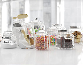 Glassware with sweets 3D
