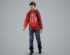3D model standing Casual Boy with Red Sweatshirt