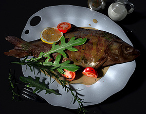 3D model Baked fish in sauce with vegetables
