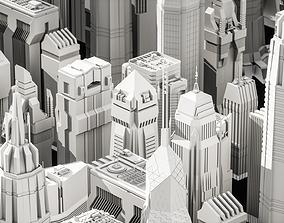 Cyberpunk modern low poly sci-fi skyscrapers 3D model