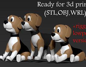 Dog toon 3 poses 3D printable model