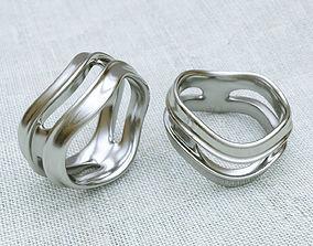 Sculpturesque Curves Ring 3D print model usa