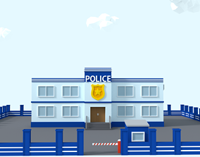 3D asset Cartoon Low Poly Police Station