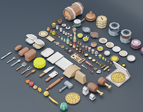 3D asset A set of products drinks kitchen utensils