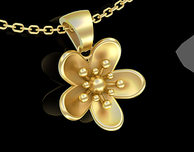 3D printable model Small Flower Pendant jewelry Gold