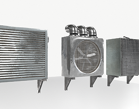 3D model Industrial Exhaust Fans and vents pack