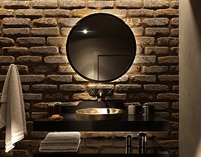 3D interior-design Moody Bathroom interior scene