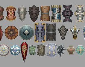 3D asset low-poly shield militara