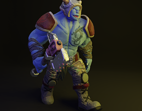 Anthropomorphic monster with a hammer 3d low poly low-poly