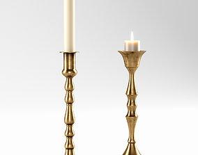 3D model Vintage brass candleholders