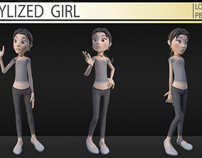 3D model game-ready Stylized girl