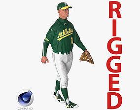 3D model Baseball Player Rigged Athletics for Cinema 4D