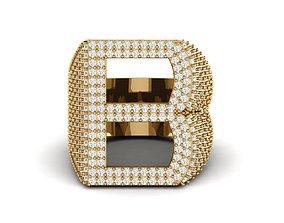 B Letter Diamond Ring 3D print model