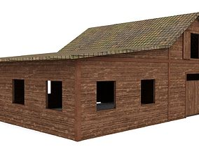 3D model low-poly Western Barn