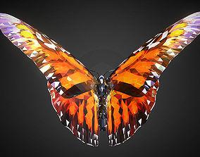 Batterfly Orange Low Polygon Art Insect 3D model