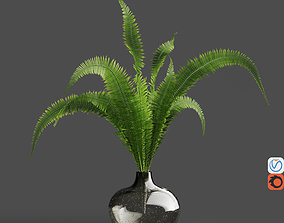 H18 gray tinted bubble glass drop vase with Fern 3D model