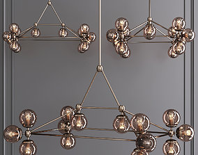 3D model Modo Rectangle Chandelier 14 Globes Bronze and 2