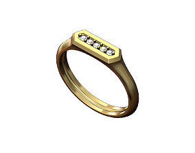 3D printable model Hexagonal slot low profile signet ring