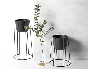 Stem Vase with Eucalyptus and Wire Pots 3D